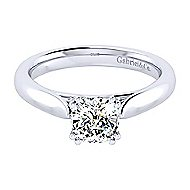 Leah 14k White Gold Cushion Cut Solitaire Engagement Ring