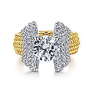 Leandra 14k Yellow And White Gold Round Straight Engagement Ring angle 1