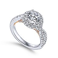 Leanna 14k White And Rose Gold Round Halo Engagement Ring angle 3