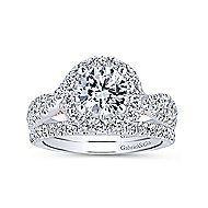Leanna 14k White And Rose Gold Round Halo Engagement Ring angle 4