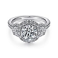 Leda 18k White Gold Round 3 Stones Halo Engagement Ring