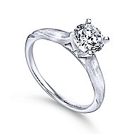 Lee 14k White Gold Round Solitaire Engagement Ring angle 3