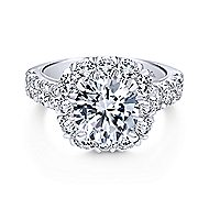 Leila 14k White Gold Round Halo Engagement Ring angle 1