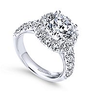 Leila 14k White Gold Round Halo Engagement Ring angle 3