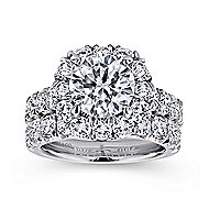 Leila 18k White Gold Round Halo Engagement Ring angle 4