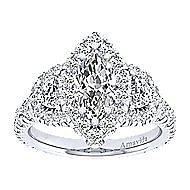 Lena 18k White Gold Marquise  3 Stones Halo Engagement Ring angle 5