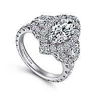 Lena 18k White Gold Marquise  3 Stones Halo Engagement Ring angle 3