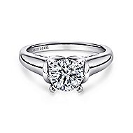 Lenora 14k White Gold Round Solitaire Engagement Ring angle 1