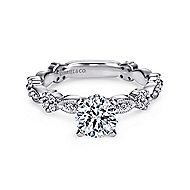 Leona 14k White Gold Round Straight Engagement Ring angle 1