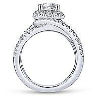 Leone 18k White Gold Round Halo Engagement Ring angle 2