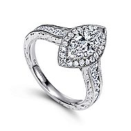 Leticia 14k White Gold Marquise  Halo Engagement Ring
