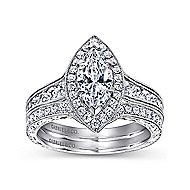 Leticia 14k White Gold Marquise  Halo Engagement Ring angle 4