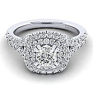 Lexie 14k White Gold Cushion Cut Double Halo Engagement Ring angle 1