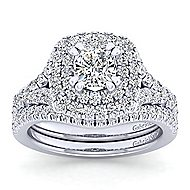 Lexie 14k White Gold Cushion Cut Double Halo Engagement Ring angle 4