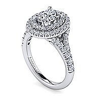 Lexie 14k White Gold Oval Double Halo Engagement Ring angle 3