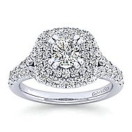 Lexie Platinum Cushion Cut Double Halo Engagement Ring angle 5