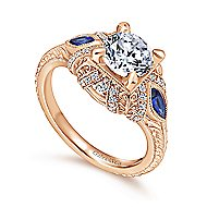 Lexington 14k Rose Gold 3 Stones Halo Engagement Ring angle 3
