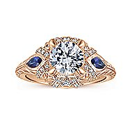 Lexington 14k Rose Gold 3 Stones Halo Engagement Ring angle 5