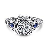 Lexington 14k White Gold Round 3 Stones Halo Engagement Ring angle 1