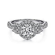 Liana 14k White Gold Round 3 Stones Halo Engagement Ring