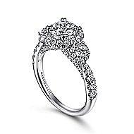 Liana 14k White Gold Round 3 Stones Halo Engagement Ring angle 3