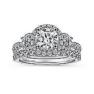 Liana 14k White Gold Round 3 Stones Halo Engagement Ring angle 4