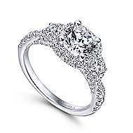 Liana 14k White Gold Round 3 Stones Halo Engagement Ring angle 3
