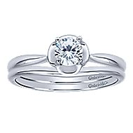 Libby 14k White Gold Round Solitaire Engagement Ring angle 4