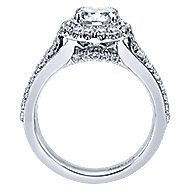 Lifetime 18k White Gold Round Halo Engagement Ring angle 2
