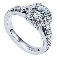 Lifetime 18k White Gold Round Halo Engagement Ring angle 3