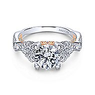 Lilac 18k White And Rose Gold Round Twisted Engagement Ring angle 1