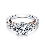 Lily 18k White And Rose Gold Round 3 Stones Halo Engagement Ring angle 1