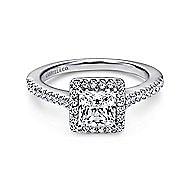Lindsey 14k White Gold Princess Cut Halo Engagement Ring angle 1