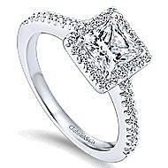 Lindsey 14k White Gold Princess Cut Halo Engagement Ring angle 3