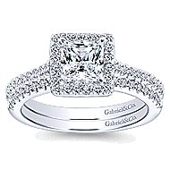 Lindsey 14k White Gold Princess Cut Halo Engagement Ring angle 4