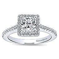Lindsey 14k White Gold Princess Cut Halo Engagement Ring angle 5