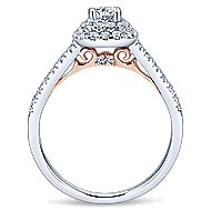 Lisbon 14k White And Rose Gold Round Double Halo Engagement Ring angle 2