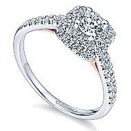 Lisbon 14k White And Rose Gold Round Double Halo Engagement Ring angle 3