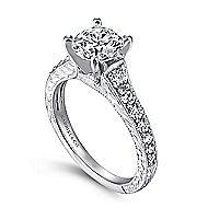 Lisette 14k White Gold Round Straight Engagement Ring angle 3