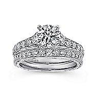 Lisette 14k White Gold Round Straight Engagement Ring angle 4