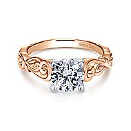 Livingston 18k White And Rose Gold Round Free Form Engagement Ring