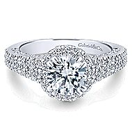Locarno 14k White Gold Round Halo Engagement Ring angle 1