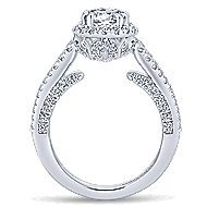 Locarno 14k White Gold Round Halo Engagement Ring angle 2