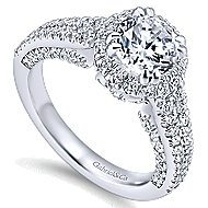 Locarno 14k White Gold Round Halo Engagement Ring angle 3