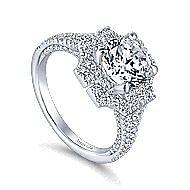 Lois 18k White Gold Round Halo Engagement Ring angle 3