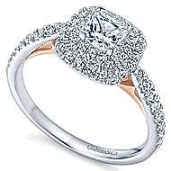 London 14k White And Rose Gold Cushion Cut Double Halo Engagement Ring angle 3
