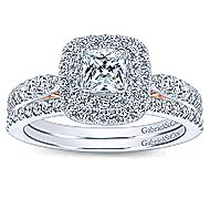 London 14k White And Rose Gold Cushion Cut Double Halo Engagement Ring angle 4