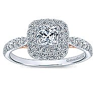 London 14k White And Rose Gold Cushion Cut Double Halo Engagement Ring angle 5