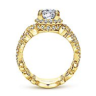 Loretta 18k Yellow Gold Round Halo Engagement Ring angle 2