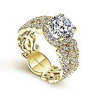 Loretta 18k Yellow Gold Round Halo Engagement Ring angle 3